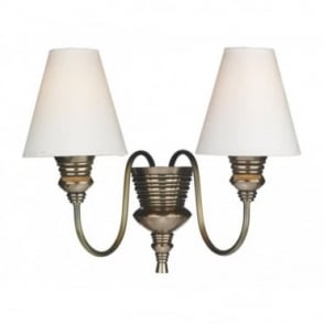 DOREEN - Double Bronze Wall Light With Ivory Shades