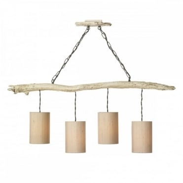 DRIFTWOOD - 4 Light Bar Ceiling Pendant Old Ivory with Taupe Silk Shades