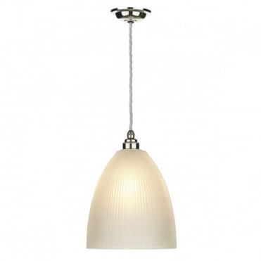 DUXFORD - Glass Ceiling Pendant Nickel Chrome C/W Satin Glass
