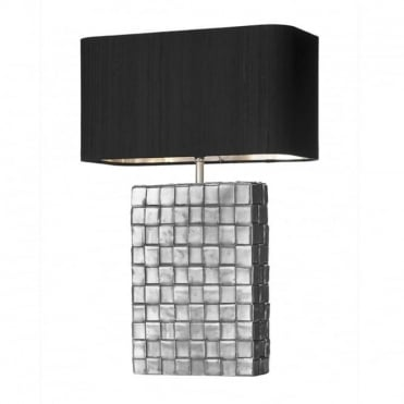 ELEMENT - Table Lamp Pewter C/W Black Sh Sil Inner