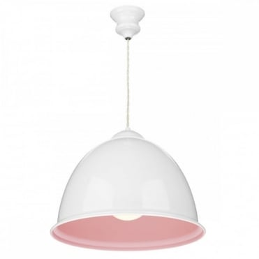 EUSTON - 1 Light Gloss White Ceiling Pendant Pastel Pink Inner