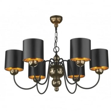 GARBO - 6Light Bronze Ceiling Pendant Black Shades