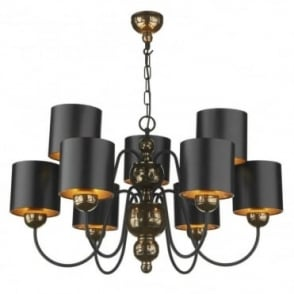 GARBO - Bronze Ceiling Light Black Shades