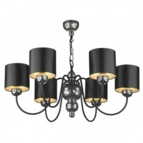 GARBO - Pewter Ceiling Light Black Shades