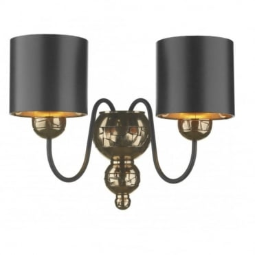 GARBO - Twin Bronze Wall Light Black Shades