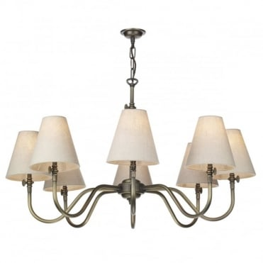 HICKS - 8 Light Ceiling Pendant In Antique Brass With Shades