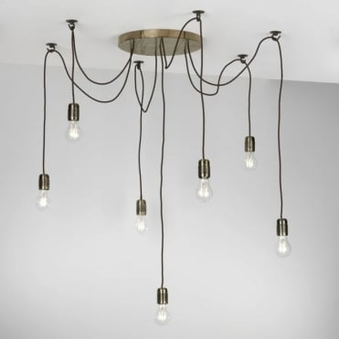 HUCKLEBERRY - 7 Light Cluster Ceiling Pendant Bronze Ceiling