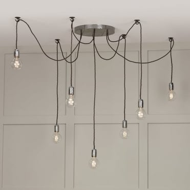 HUCKLEBERRY - 7 Light Cluster Ceiling Pendant Lead Grey