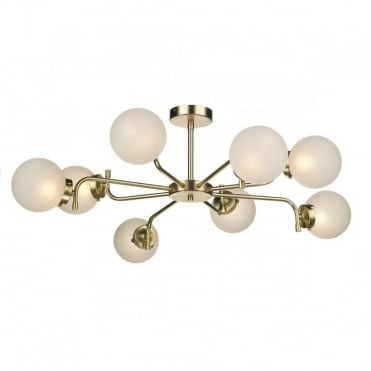 JAZZ 8 Light Pendant Polished Brass complete with Glass