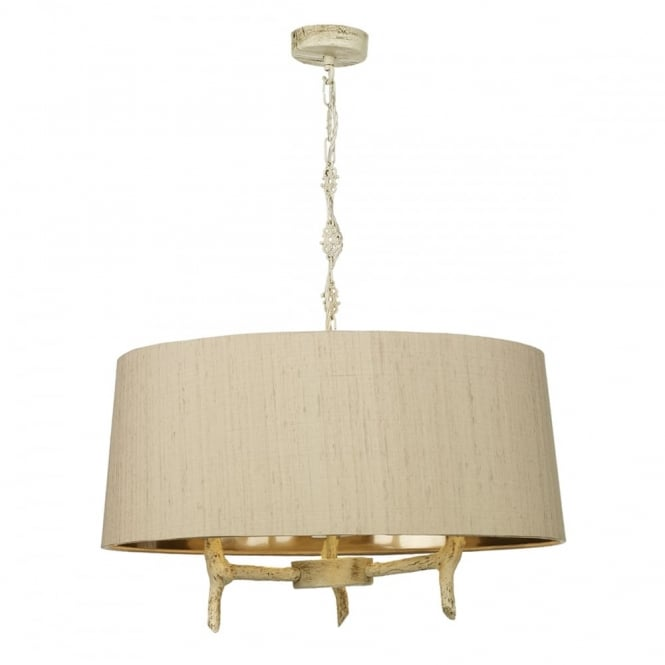 David Hunt Lighting JOSHUA - 3 Light Shaded Old Ivory Ceiling Pendant Taupe Silk Shade Bronze Lin
