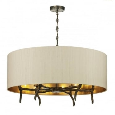 JOSHUA - 6 Light Shaded Bronze Ceiling Pendant Taupe Silk Shade On Bronze Lin