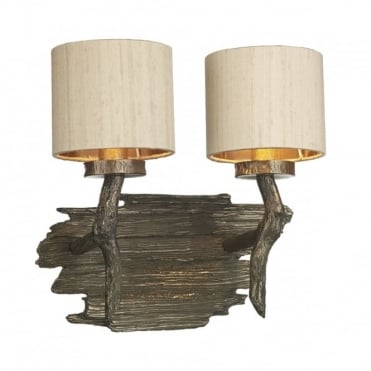 JOSHUA - Double Wall Bracket Bronze C/W Taupe Silk Shade