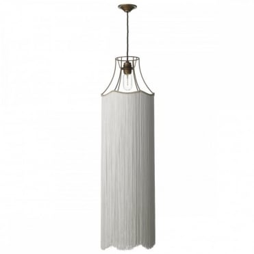 MAINE - 1 Light Ceiling Pendant Bronze with Extended Ivory Fringe
