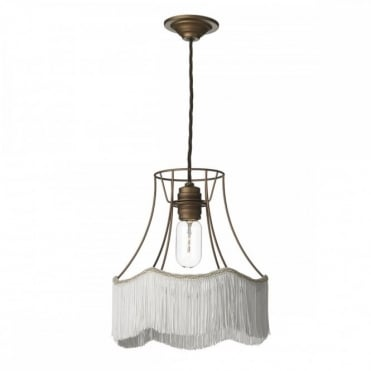 MAINE - 1 Light Ceiling Pendant Bronze with Ivory Fringe