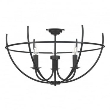 ORB - 3 Light Semi Flush Ceiling Black Ceiling