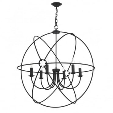 ORB - Circular Black Gyroscope Ceiling Pendant Light