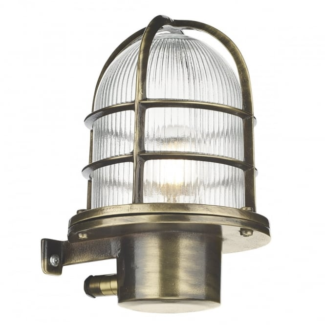 David Hunt Lighting PIER - Caged Antique Brass Wall Light Ip64