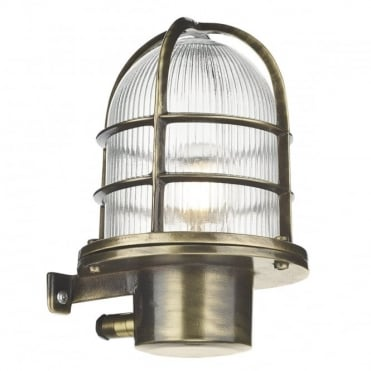 PIER - Caged Antique Brass Wall Light Ip64