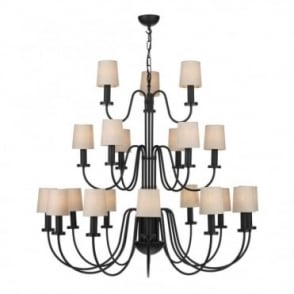 PIGALLE - 21 Light Chandelier Black With Linen Shades