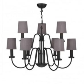PIGALLE - 9 Light Chandelier Black With Black Shades