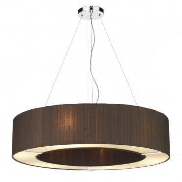 POLO Large Circular Ceiling Pendant Nutmeg Silk Shade - Choice Of Colours