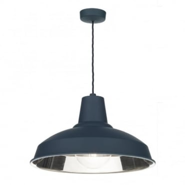 RECLAMATION - 1 Light Ceiling Pendant Smoke Blue/Chrome Inner Ceiling