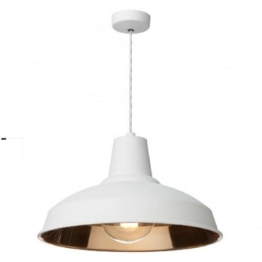 RECLAMATION - 1 Light Ceiling Pendant White/Copper Inner Ceiling