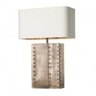 RIVET - Rec Table Lamp Copper C/W Ivory Silk Sh Bz Inner