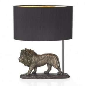 ROYAL - Bronze Lion Table Lamp With Black Silk Shade