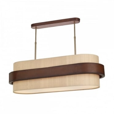 SADDLER - 4 Light Oval Ceiling Pendant with Taupe Silk Shade