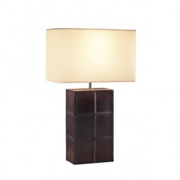 SADDLER - Brown Leather Effect Table Lamp