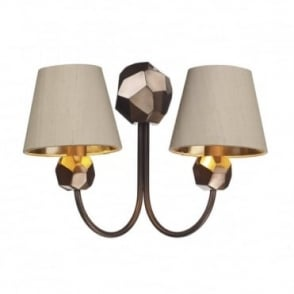 SHARD - 2 Light Wall Light Large Copper With Taupe Shade