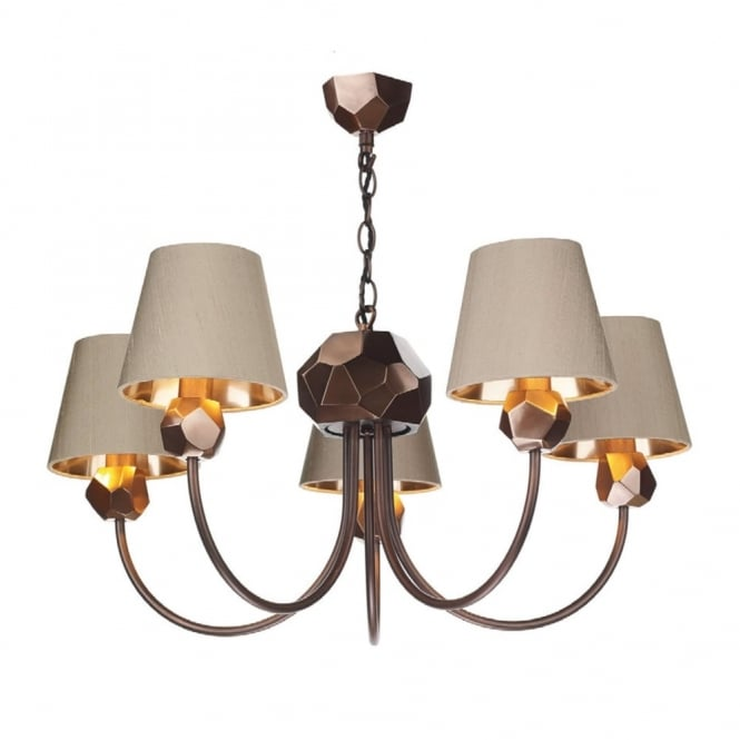 David Hunt Lighting SHARD - 5 Light Ceiling Pendant Copper With Taupe Shades