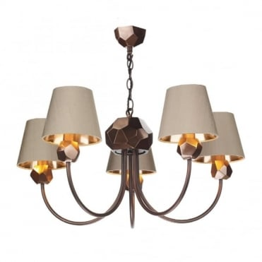 SHARD - 5 Light Ceiling Pendant Copper With Taupe Shades