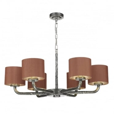 SLOANE - 6 Light Dual Mount Ceiling Pendant Pewter withsilksh S0699/Si(Spec Col