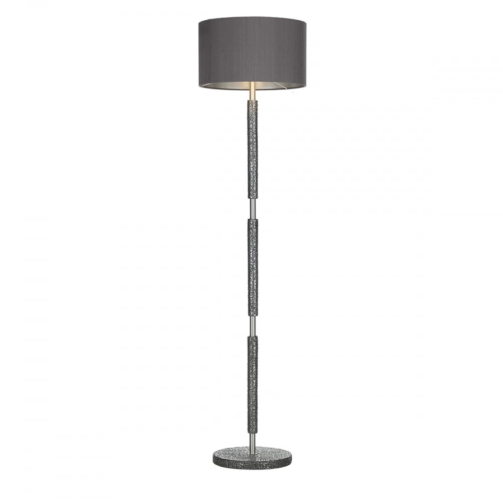 Pewter charcoal silk shade hammered floor lamp lighting and lights uk sloane floor lamp pewter with charcoal shade aloadofball Image collections