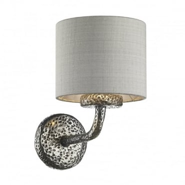 SLOANE - Single Wall Bracket Pewter C/W Silk Shade S0699/Si (Specify Colour)