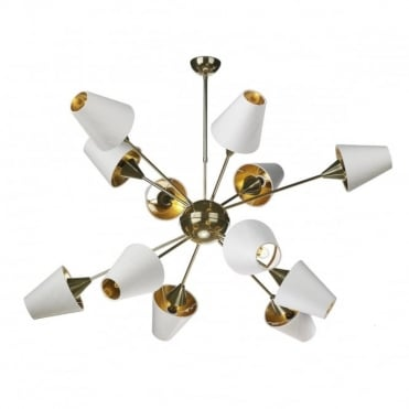 SPUTNIK - 12 Light Ceiling Pendant Brass With Ivory Shades