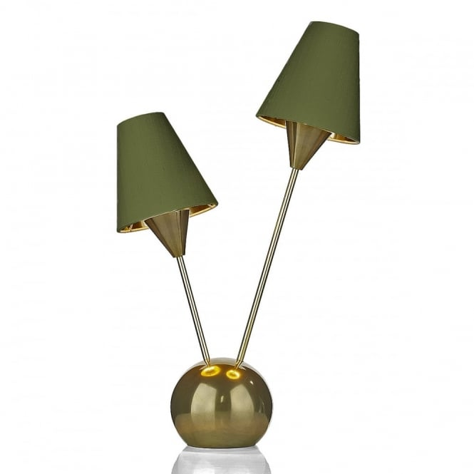 David Hunt Lighting SPUTNIK - 2 Light Table Lamp Brass With Olive Green Shade