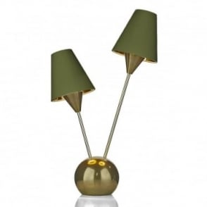SPUTNIK - 2 Light Table Lamp Brass With Olive Green Shade