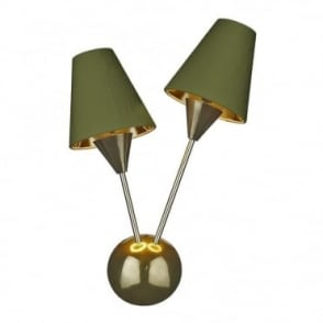 SPUTNIK - Double Wall Light Brass With Olive Green Shades