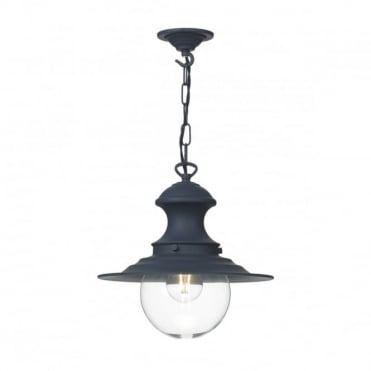 STATION - Lamp 1 Light Ceiling Pendant Small Smoke Blue Ceiling