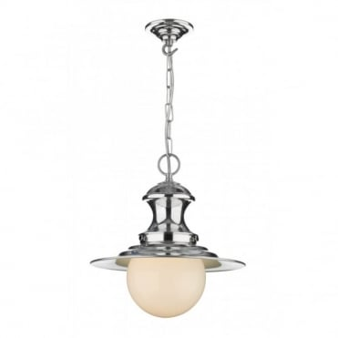 STATION - Lamp Small Chrome Ceiling Pendant Double Insulated