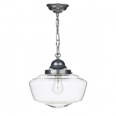 STOWE - 1 Light Ceiling Pendant Satin Chrome Clear Glass Ceiling