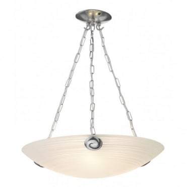 SWIRL - White Glass Uplighter Ceiling Pendant