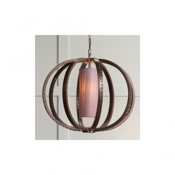 David Hunt Lighting TWAIN - 1 Light Ceiling Pendant Copper C/W Silk Shade(Specify Colour)