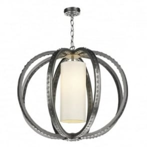 TWAIN - 1 Light Ceiling Pendant Pewter C/W Ivory Silk Shade