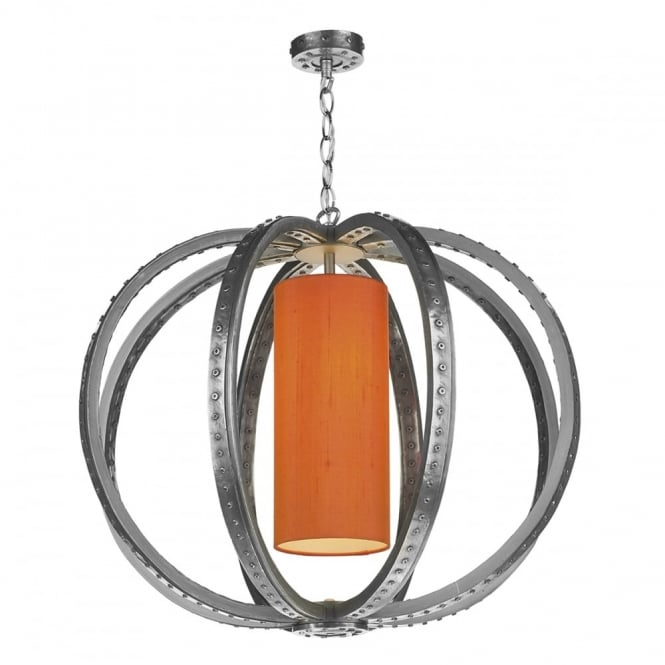 David Hunt Lighting TWAIN - 1 Light Ceiling Pendant Pewter C/W Silk Shade(Specify Colour)