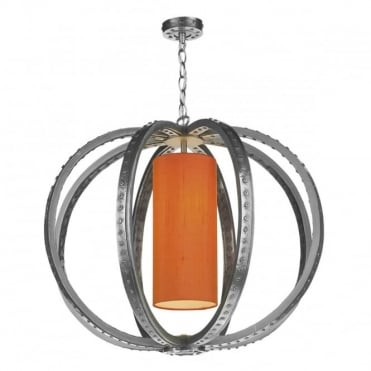 TWAIN - 1 Light Ceiling Pendant Pewter C/W Silk Shade(Specify Colour)