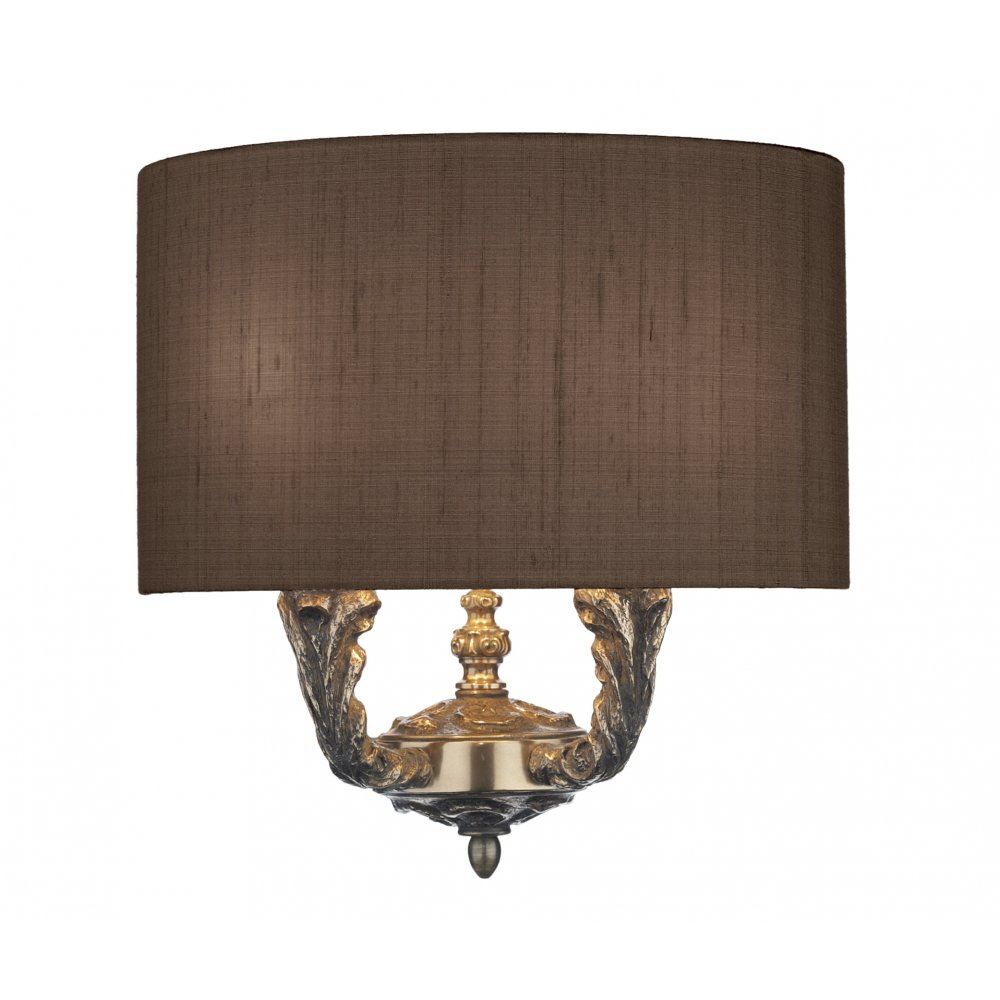 Curved wall light on bronze fitting with nutmeg silk fabric shade valerio traditional bronze wall light with curved brown shade aloadofball Image collections